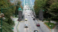 Top shot of Lions Gate Bridge at Stanley Park Stock Footage