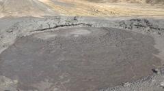 Interesting view mud volcano bubble boiling sulfur strange phenomenon 4k UHD Stock Footage