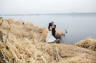 Wedding couple at the lake shore Stock Photos