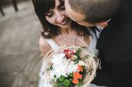 Bridal couple close to each other Stock Photos
