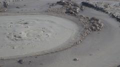 Mud volcano bubble boiling sulfur strange phenomenon real time 4k UHD Stock Footage