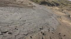 Mud volcano bubble boiling sulfur strange phenomenon right pan  4k UHD Stock Footage