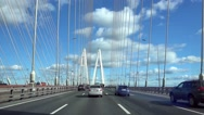 Highway is encircling the city. View from car drives Stock Footage