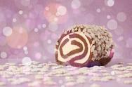 Delicious tasty homemade cakes with bokeh light background Stock Photos