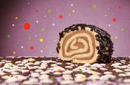 Sweet tasty cakes with colorful background and bokeh light Stock Photos