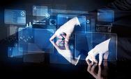 Man pressing technology smart table interface Stock Photos