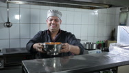 The chef present the dish at the kitchen Stock Footage