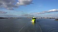 Tallink Shuttle cruise liner leaving harbor Stock Footage