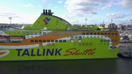 Tallink Shuttle cruise liner leaving harbor Stock Footage