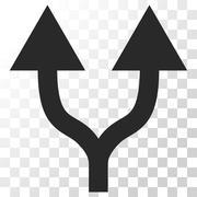 Split Arrows Up Vector Icon Stock Illustration