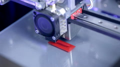 3D Printing a guitar model on 3D printer. Timelapse Stock Footage