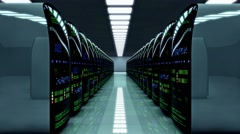 Futuristic server room. Working data servers with flashing LED lights Stock Footage
