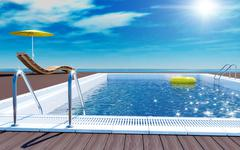 Swimming pool beach lounger on sun deck with sea view Stock Illustration