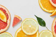 Close up of fresh orange, grapefruit, lime and lemon slices Stock Photos