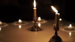 Candle light candlestick celebration Stock Footage