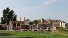 St. Jean Ruins and Selcuk Castle in Backround Stock Footage