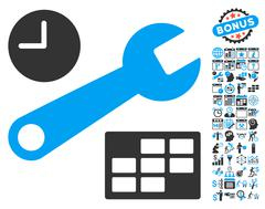 Date And Time Setup Flat Vector Icon With Bonus Stock Illustration