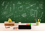 Back to school chalkboard and color pencils Stock Photos