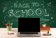 Back to school blackboard and student desk Stock Photos