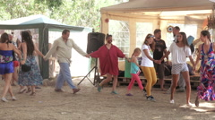 Ethno esoteric festival round dance Stock Footage