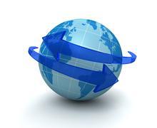 Globe surrounding arrow concept   3d illustration Stock Illustration