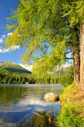 Mountain lake Strbske pleso in National Park High Tatra Stock Photos
