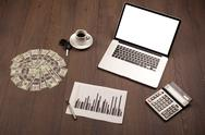 Business desk with office supplies and modern laptop white background Stock Photos