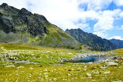 Small lake in Mengusovska Valley, Vysoke Tatry (High Tatras), Slovakia Stock Photos