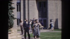1962: a group of older people walking nearby a courthouse HAWAII Stock Footage