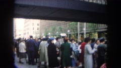 1962: people on the street at the street everyone and anyone staying and talking Stock Footage