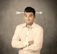 Young sales guy with arrow in the head Stock Photos