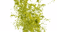 Splashing a yellow liquid into the air. Colored paint Stock Footage
