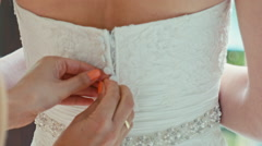 Button up wedding dress for bride Stock Footage