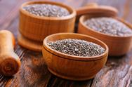 Chia seeds in bowls on a table Stock Photos