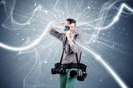 Professional photographer with dynamic lines Stock Photos