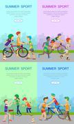 Children Going in for Sport Web Banner Poster Set Stock Illustration