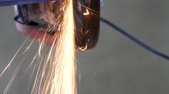 Man Sawing Metal By Grinder Stock Footage