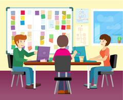 Group of People Working in Office Stock Illustration