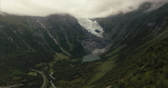 An aerial shot of a Norwegian Glacier Stock Footage