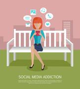 Social Media Addiction Banner Stock Illustration