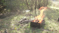 Barbecue in the forest Stock Footage