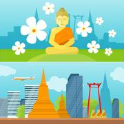 Set of Thailand Travel Poster Stock Illustration