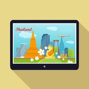 Thailand Travelling banner. Thai Landmarks. Tablet Stock Illustration