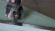 Man Sawing Metal By Grinder Stock Footage