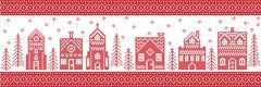 Xmas pattern with winter wonderland town Stock Illustration