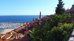 Panoramic View of Menton in France Stock Footage