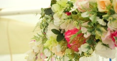 Different flowers wedding bouqet outdoor Stock Footage