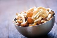 Raw mushrooms Stock Photos