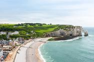 View to Etretat, France from above Stock Photos