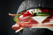 Macro Black burger Stock Photos